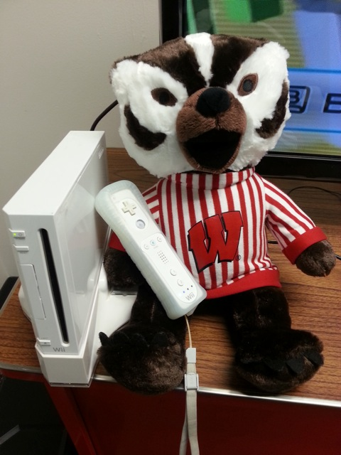 Bucky Badger with a Wii